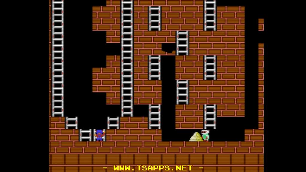 左下のハシゴへ移動してロボットに金塊を取らせて埋める
