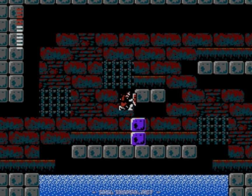 左右に動くブロックに飛び移って上の段へ