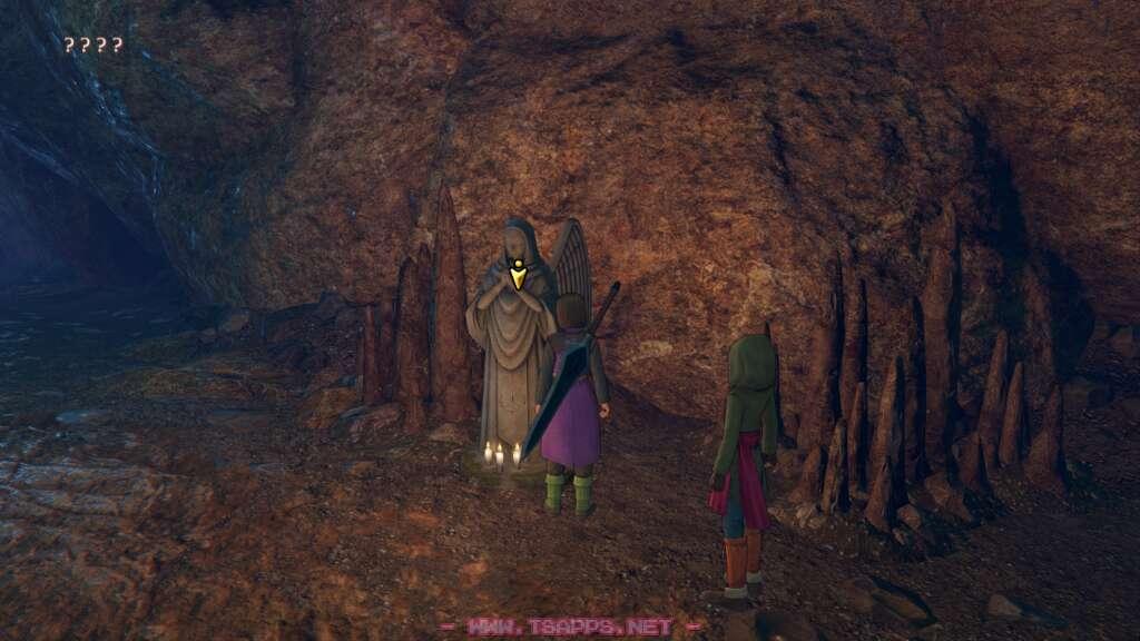 謎の洞窟に落下した2人。女神像でセーブ