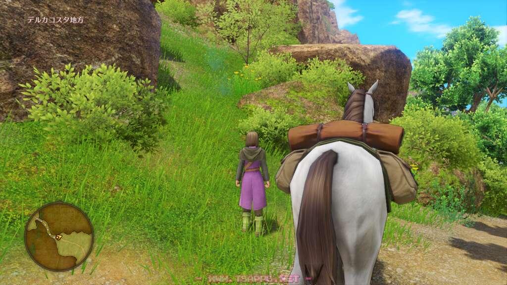 ここで一度馬を下りて崖の上へ