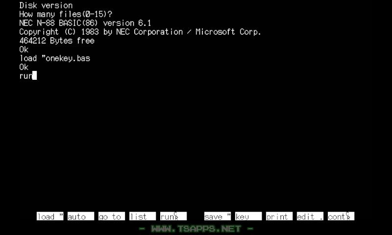 まずはPC-98のDiskBASIC版から