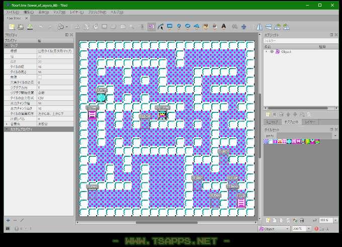 マップはTiledで作成した.tmxをそのまま利用