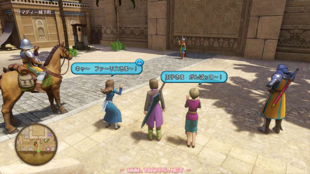 城下町の入口には見送りの町人たちが