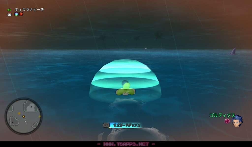 サメが近づくと画面が黄色く光り、ピンチ状態だと赤くなります