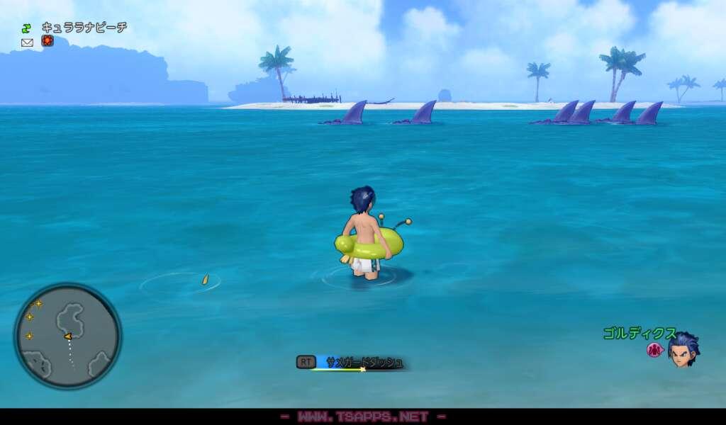 北側の海にはサメバーンがウヨウヨ!