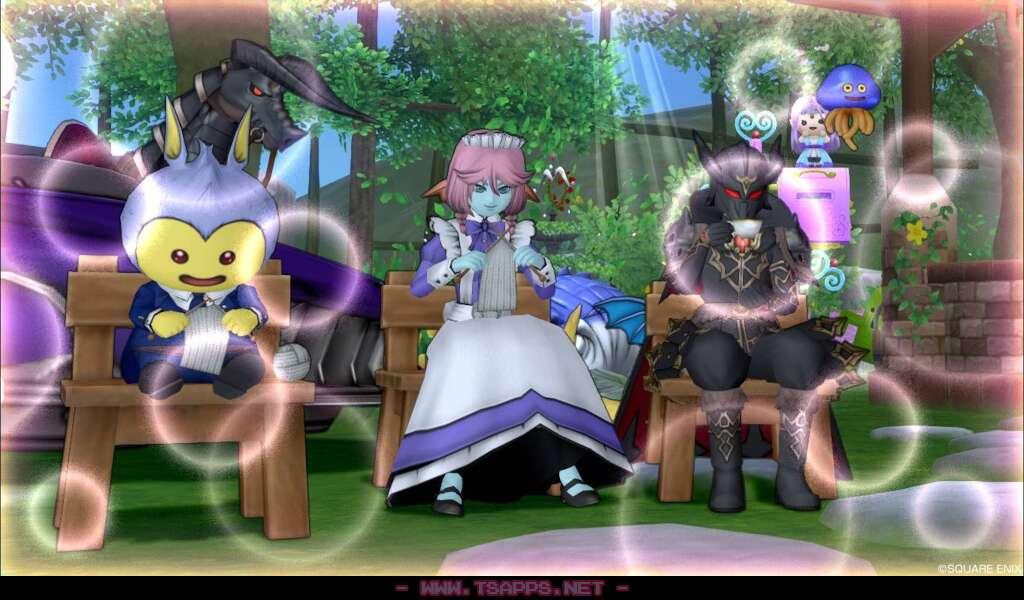 編み物をするプラコン2人とお茶を飲む大魔王