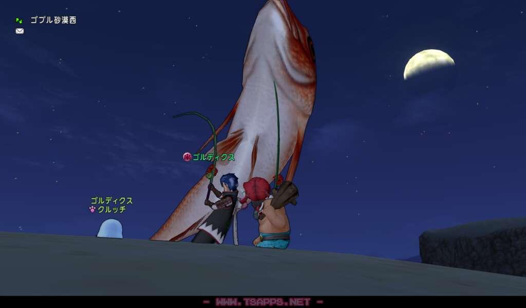 釣っている間に月が見えるくらい快晴に